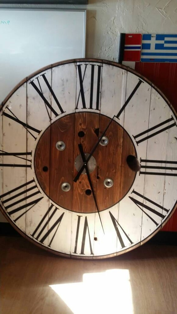 3236 Or 48 Inch Cable Wire Spool Farmhouse Clock Etsy