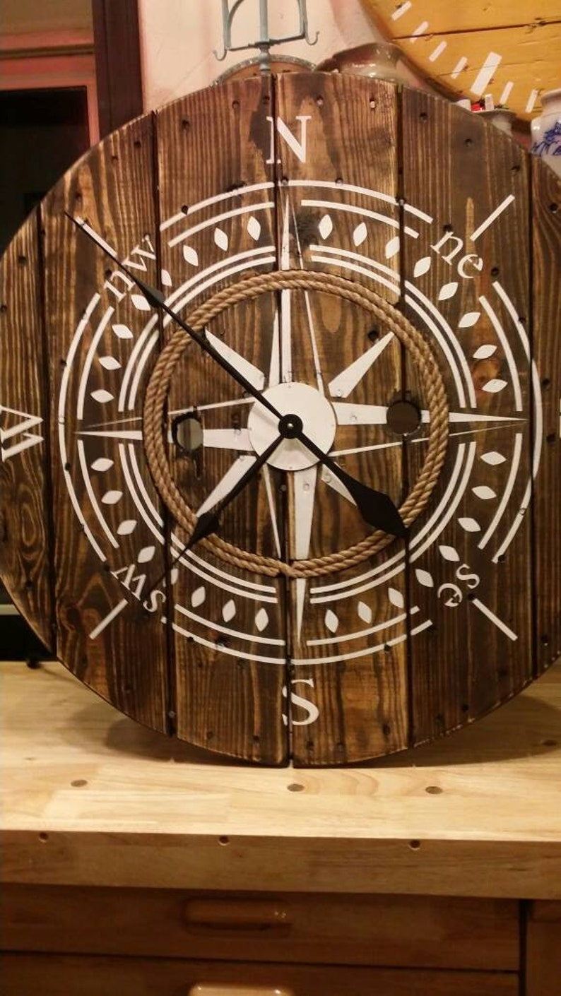 Nautical 32 Inch Wooden Wire Spool Clock Housewarming Gift Rustic Wall Clock Wall Decor Compass Clock