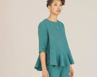 Green hemp loose top - Oversize spring blouse - Sustainable womens clothing