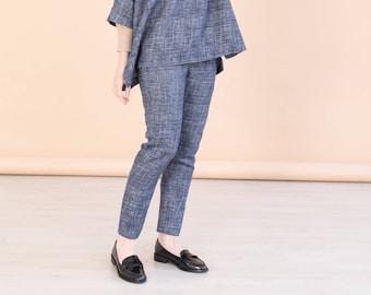 Navy blue slim-leg pants CECIL