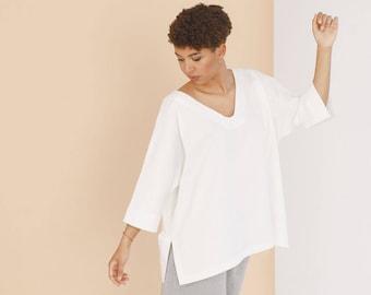 Organic cotton oversize tunic VALENTINA - White