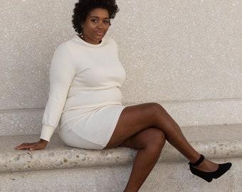 Long Sleeve TANA Sweater Dress in Ivory Jacquard