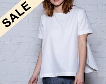 SAMPLE SALE - White organic cotton top - Eco friendly womens clothing