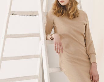 Brown organic cotton long sleeve dress TANA