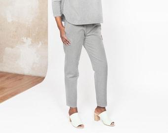 Organic Cotton Slim leg Pants CECIL - Grey