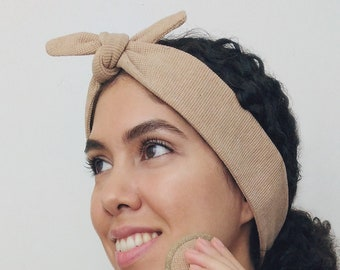 Organic Cotton Top Knot Spa Headband - Brown