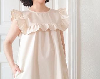 Organic Cotton Ruffle Mini Dress in Ecru HANA