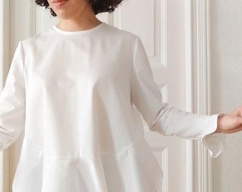 Organic Cotton MARA Ruffles Blouse - White