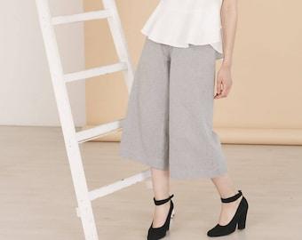 Organic cotton wide leg pants TRIADIC - Grey