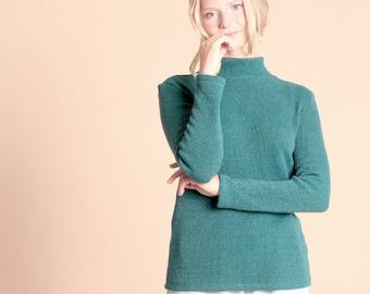 Hemp turtleneck sweater PARK - Forest Green