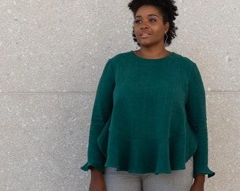 Long Sleeve MARA Hemp Blouse - Green