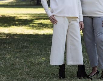 Organic Cotton Wide-leg TRIADIC Pants in Ecru