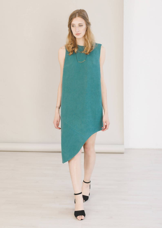 Vert maxi asymétrique vêtements durables mariage invité  63f61cdaf20