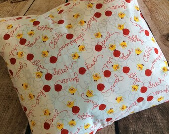 Chicks and yarn pillow slip cover