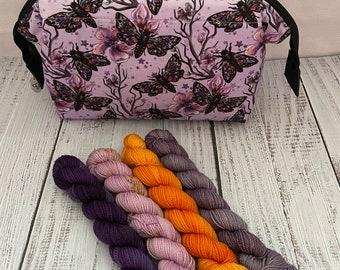 Mauve Moth yarn and bag set ...small wire frame bag custom printed fabric...Minisnap set