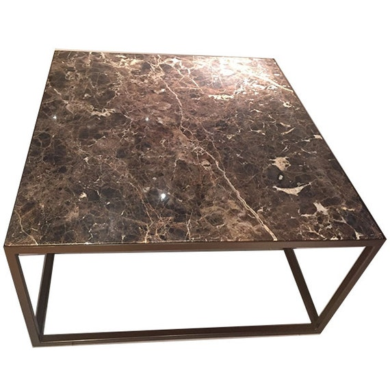 Dark Emperador Marble Coffee Table On A Satin Brown Steel Etsy
