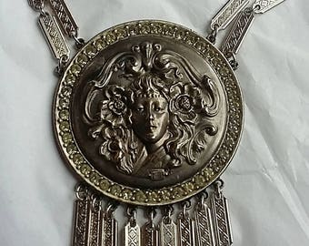 Vintage Goldette Stunning Victorian Revival Necklace, Art Nouveau Woman's Face