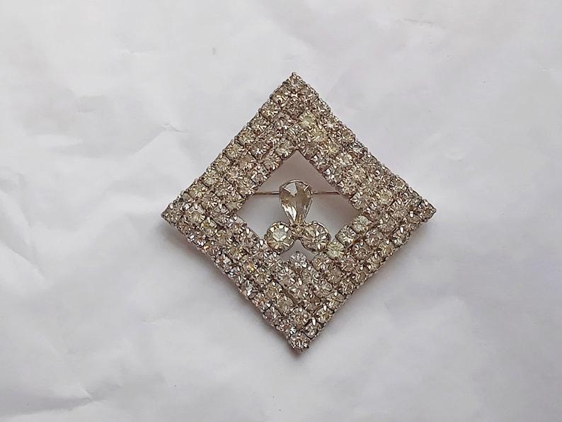 Prong Set Clear Rhinestones Vintage Rhinestone Brooch Square Diamond Shape Multi