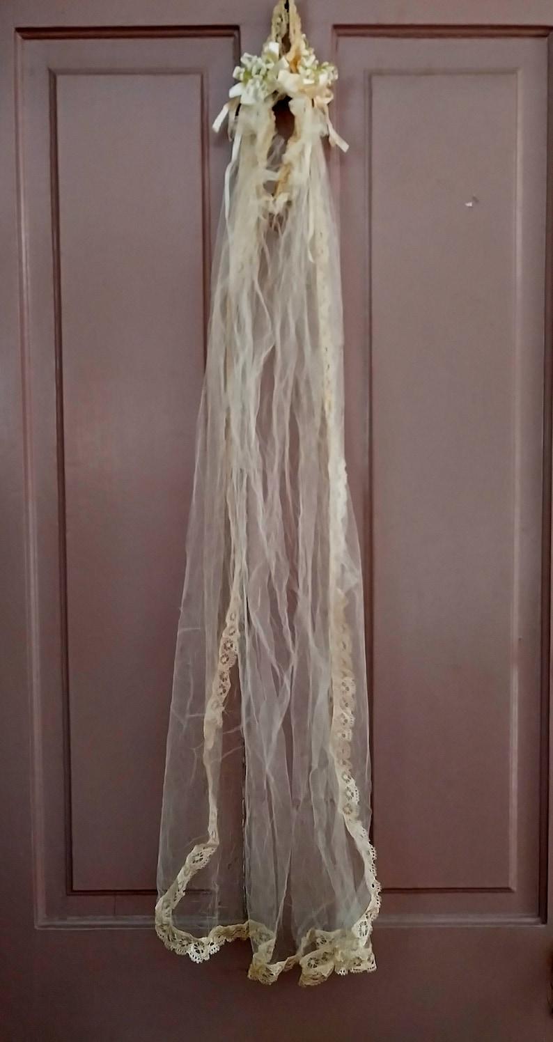 Vintage Wedding Lace Floral Headband 1940/'s  Veil