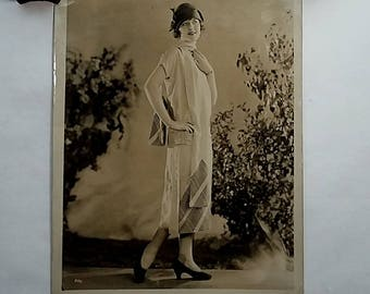 1920's 8x10 Photo, Fashion Plate, Flapper Model, Dress Hat