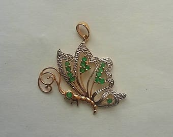 Vintage Sanuk 10k Yellow Gold w Silver Accenting Butterfly Pendant, Emerald Stones