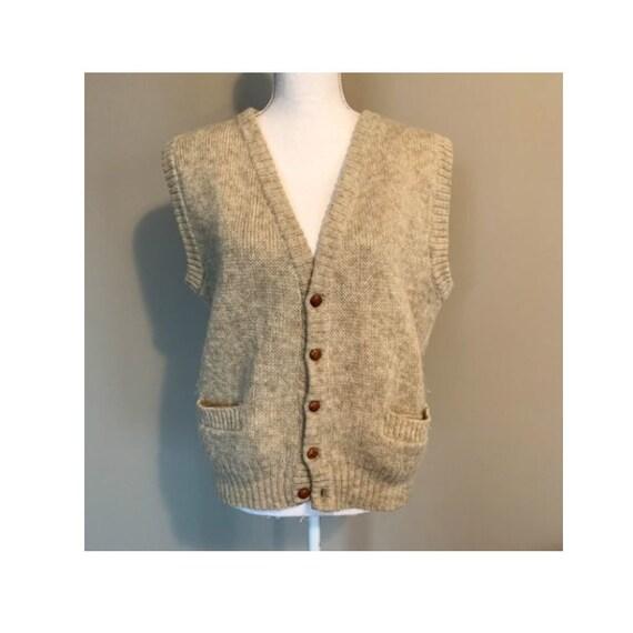 Vintage Hilda Ltd 100% Pure Wool Tan Knit Sweater… - image 1
