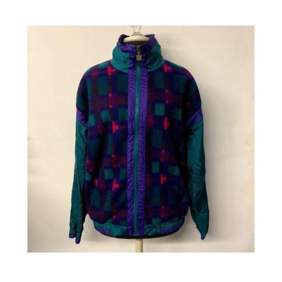 Vintage Plaid Fleece Zip Front Windbreaker Jacket, 90s Windbreaker Jacket, 90s Plaid Jacket, 90s Plaid Windbreaker Coat, Adult Size XL