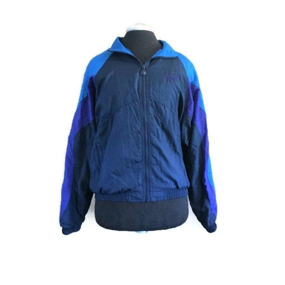 Vintage Reebok Windbreaker Jacket Sz M 1980s Purple & Blue Reebok Vintage Jacket, Vintage Windbreaker, Color Block Retro Jacket, 80s Jacket