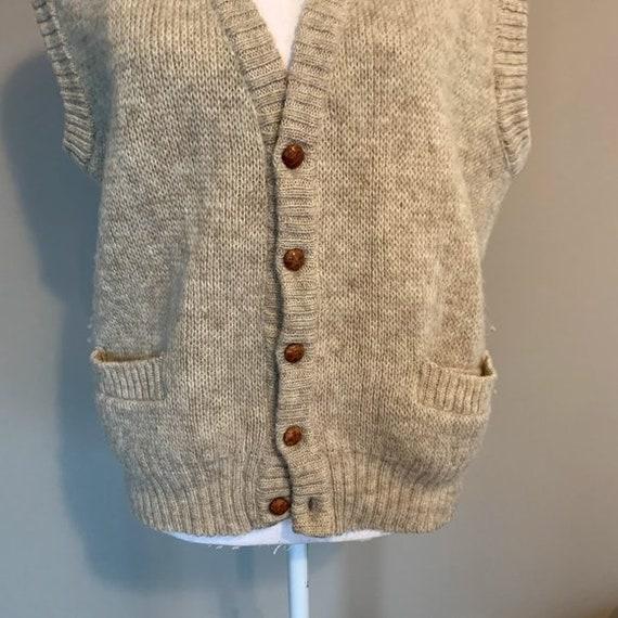 Vintage Hilda Ltd 100% Pure Wool Tan Knit Sweater… - image 3