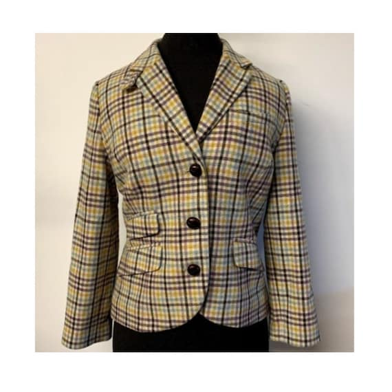Vintage LL Bean Pastel Plaid Wool Blazer Jacket, 9