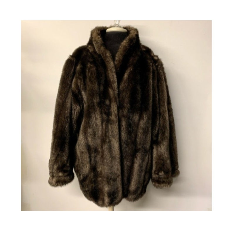 Mink Coat Value >> Vintage Faux Mink Fur Coat Vintage Faux Fur Coat 80s Faux Fur Jacket 80s Faux Mink Coat W Dolman Sleeves Size 2x 3x Approx 80s Jacket