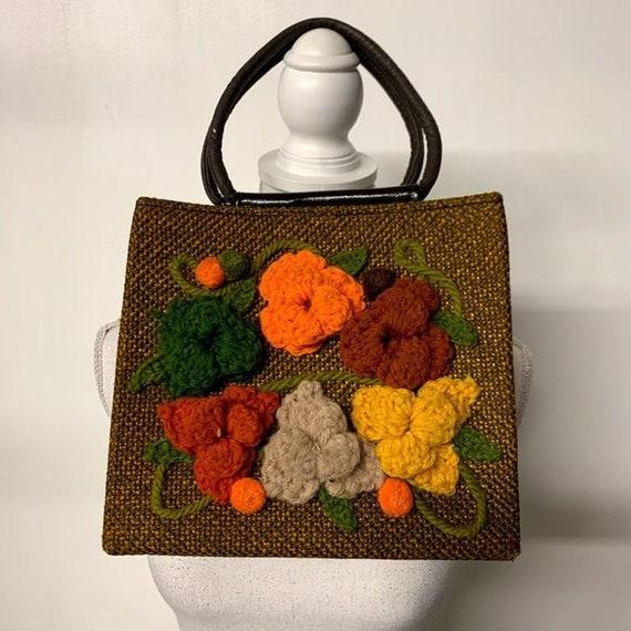 Vintage 70s Floral Boho Hippy Crochet Handbag, 70s