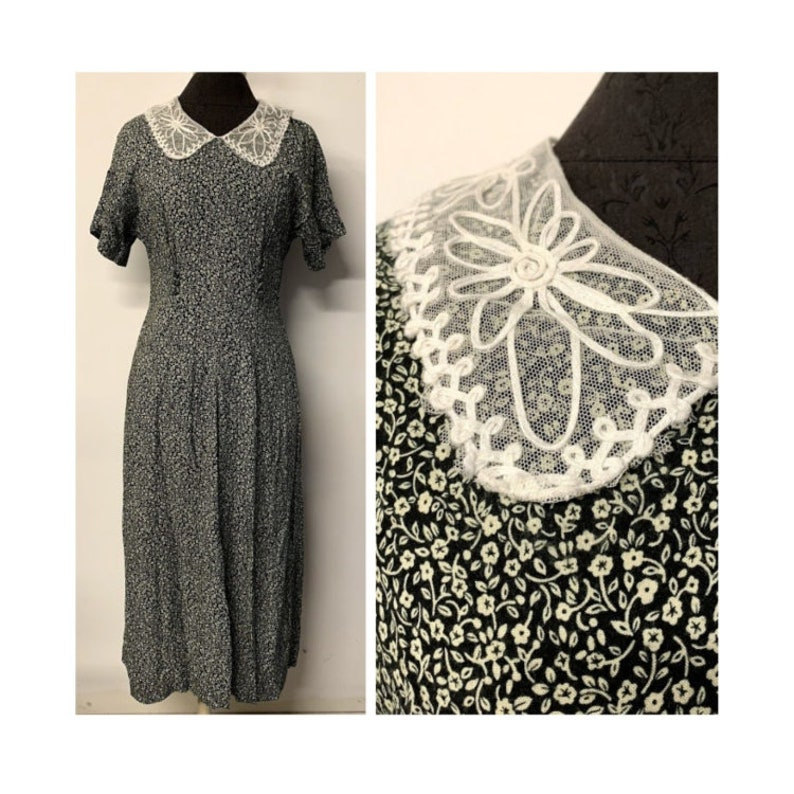 a4837ac383e0 Vintage Lace Peter Pan Collar Black and Tan Floral Dress | Etsy