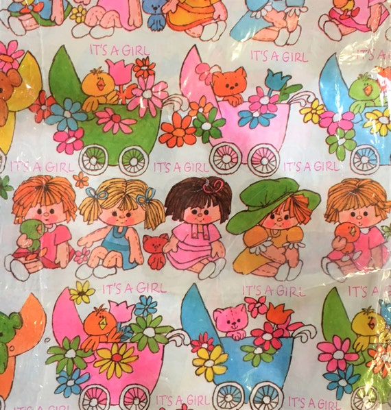 Vintage Gift Wrap, 70s Vintage Baby Shower Wrapping Paper, Girl Baby Shower,  Rag Doll Baby Girl Gift Wrap, Baby Scrapbook Paper, Baby Doll From ...