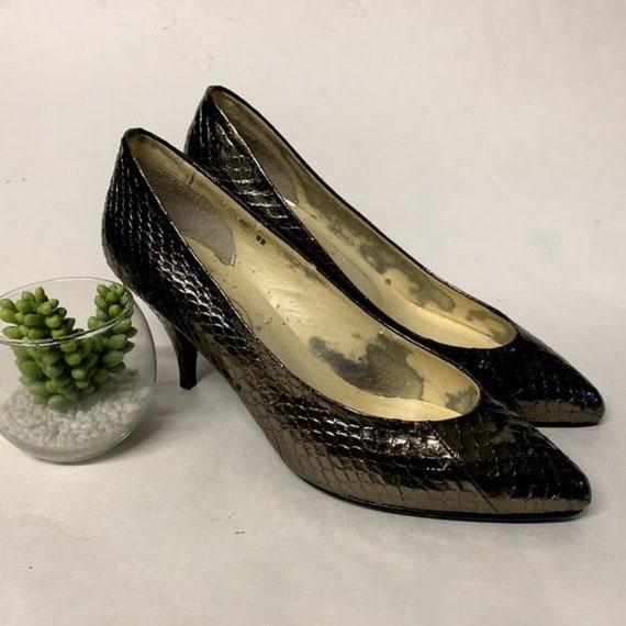 b2a03de286792 Vintage 80s Snakeskin Shoes, Vintage Heels, 80s Heels, Vintage Metallic  Bronze Genuine Snakeskin Pointed Toe Heels, 80s Womens Pumps, 8B US