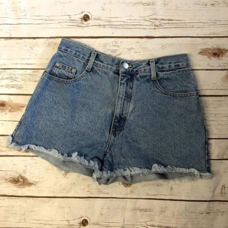 c93f09f6c5 Vintage High Rise High Cut Denim Short Shorts Distressed | Etsy