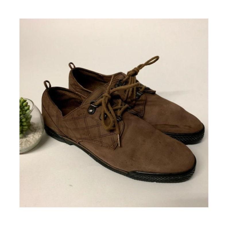 6c2484d450 Vintage 90s Reebok BOKS Brown Leather Quilted Lace Up Shoes, BOKS Vintage  Reebok Leather Booties, 90s Reeboks, 90s Sneakers, Womens 8 US