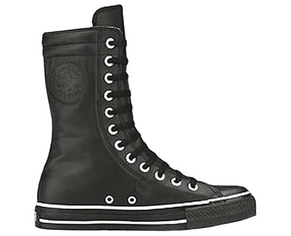 CONVERSE CHUCK TAYLOR Extra High Top Leather Black & Creme 1L793