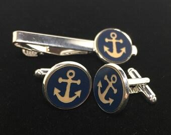 Anchor Tie Clip and Anchor Cuff links, Tie Clip, Cuff Links, Anchor Tie Clip, Anchor Cuff links, Tie Bar, Anchor Tie Bar
