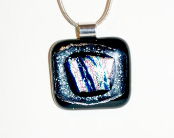 Black and Silver Dichroic Pendant
