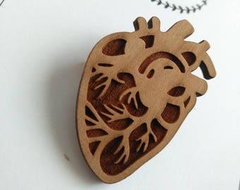 Wooden brooch, laser cut pin, anatomical heart, heart pin