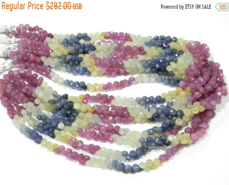 ON SALE Super fine quality Natural multi sapphire micro Faceted onion  5 mm  8 inch strand approx