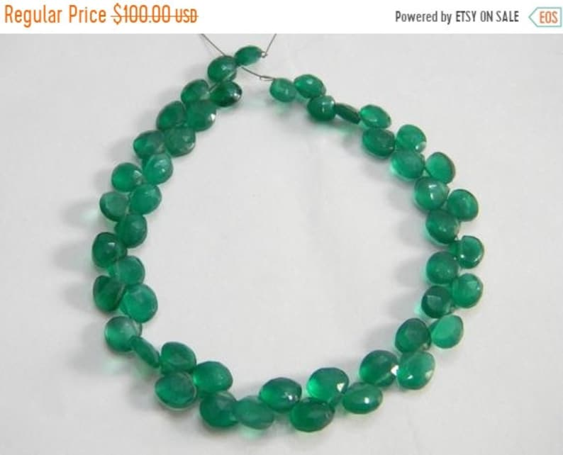 supper80 Super fine quality green onyx faceted heart briolette 45 pecs 8 inch strand Size 7-8 MM Approx