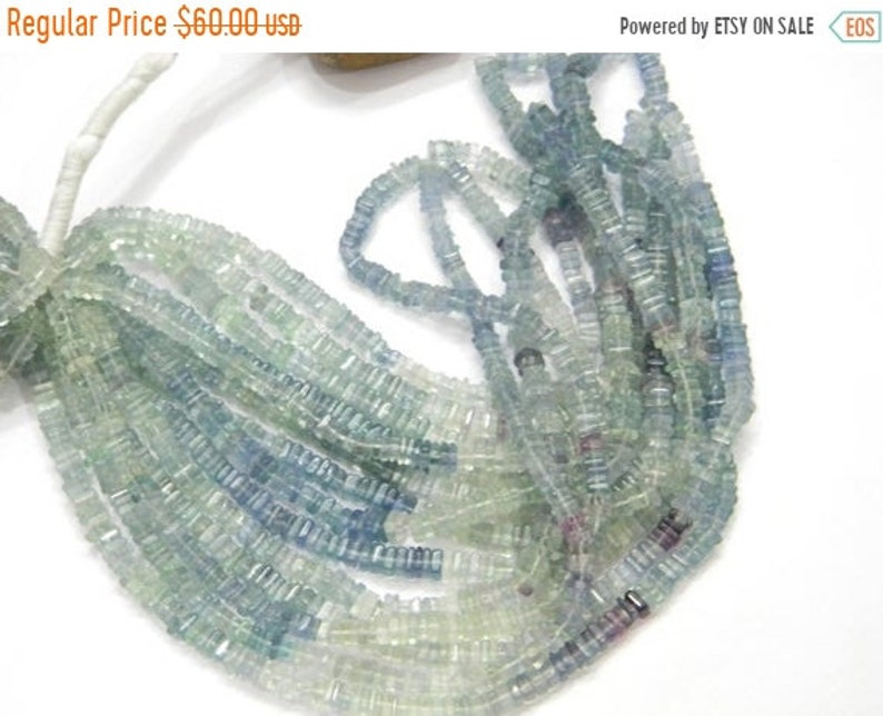 sale 80/% Discount Exclusive Quality Blue Fluorite Shaded Heishi Beads Size 4-5MM 16 inch strand Approx