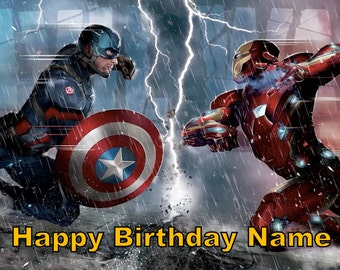 Captain America Civil War Iron Man Edible Image Cake Topper Personalized Birthday 1/4 Sheet