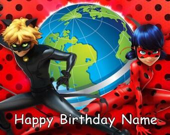 Miraculous Ladybug Edible Image Cake Topper Personalized Birthday 1/4 Sheet