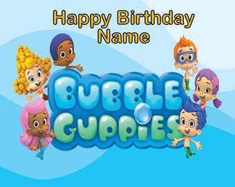 Bubble Guppies Edible Image Cake Topper Personalized Birthday 1/4 Sheet