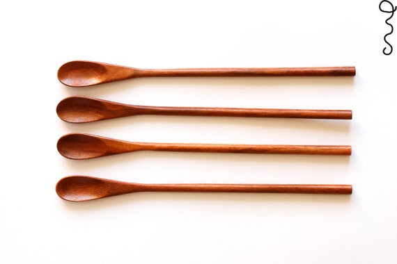 Set 4 Wide Oval Handmade Wooden Teaspoon 21.5cm Serving Utensil Coffee Gift