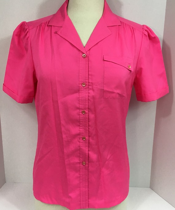 Vintage 1960s Ship N Shore Hot Pink Polyester Blouse Size Etsy
