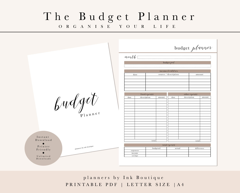 monthly budget planner finance planner money tracker money